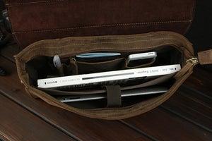 Image of Vintage Handmade Antique Crazy Horse Leather Briefcase / Messenger Bag / Laptop Bag (n59)