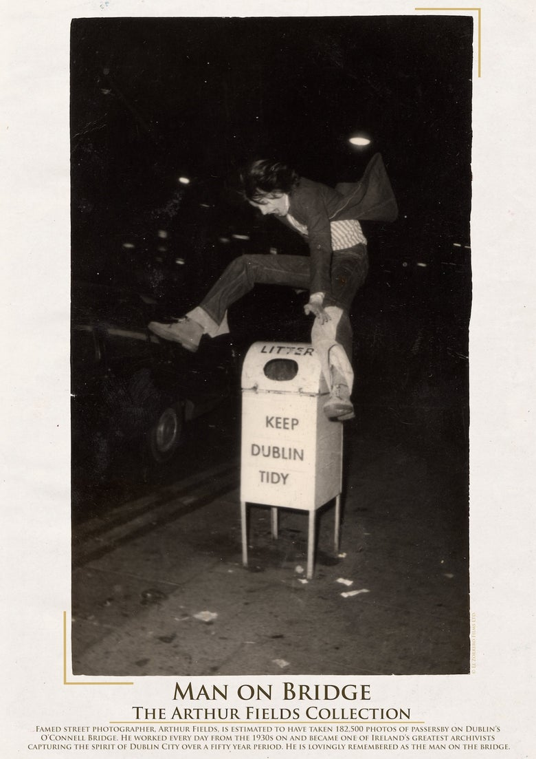 Image of Limited Edition Poster: Man Jumping Bin, Dublin, 1977.