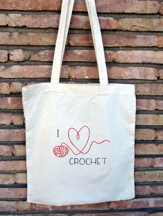 "Image of ToteBag ""I ♥ crochet"""