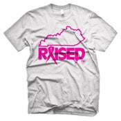 Image of LIMITED EDITION KY RAISED MEN'S BREAST CANCER AWARENESS TEE IN WHITE & PINK