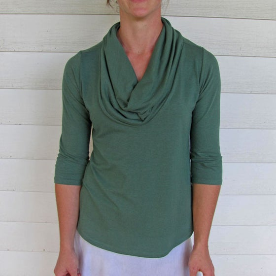 Image of Organic Cowl Neck Shirt - Forest Green