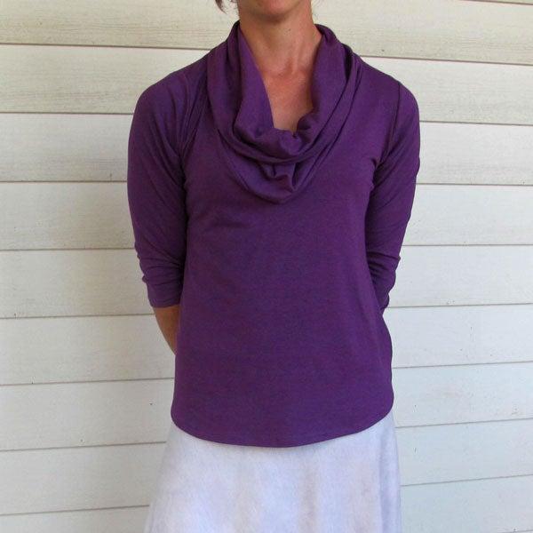 Image of Organic Cowl Neck Shirt - Royal Purple