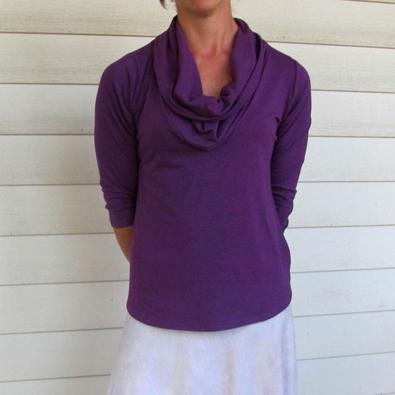 Image of Organic Cowl Neck Shirt - Royal Purple