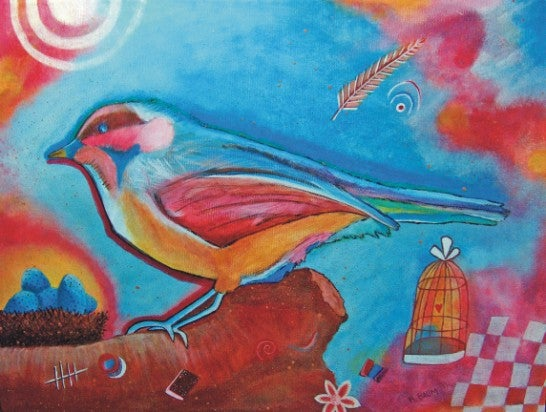 Image of Painting on Canvas: Chickadees Dream