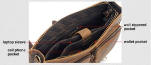 "Image of Vintage Handmade Crazy Horse Leather Briefcase Messenger 14"" 15"" Laptop 13"" 15"" MacBook Bag (n67-8)"