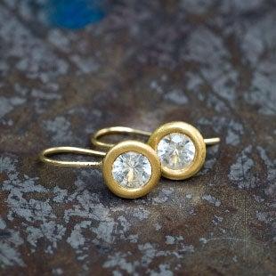 Image of 22K Big White Sapphire Earrings