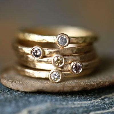 Image of 18K Brown Diamond Stacking Rings