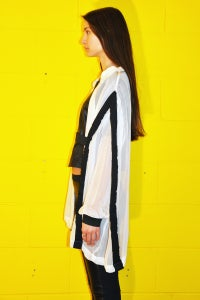 Image of Silk + Rayon Blouse With Elastic Details