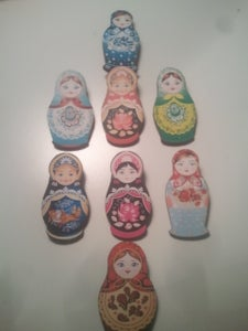 Image of Wooden Russian Doll brooches