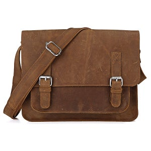 "Image of Vintage Handmade Antique Crazy Horse Leather Messenger Bag / 11"" MacBook Satchel in Brown (n72-2)"