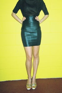 Image of High Waisted Leather & Lycra Skirt