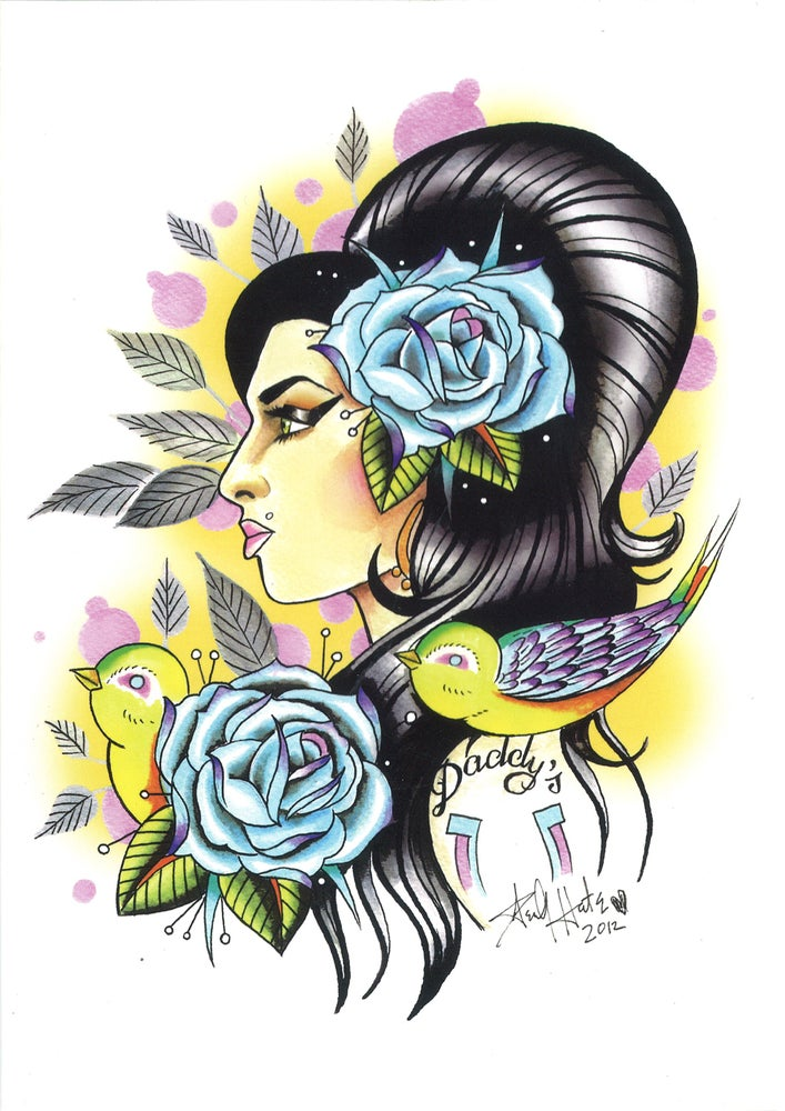 Image of Amy Winehouse Greeting Card By Henry Hate