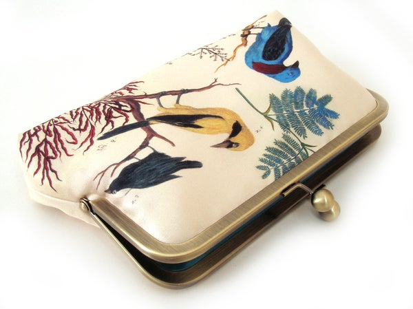 Clutch bag, printed silk purse, blue and yellow birds - Red Ruby Rose