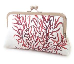 Red Coral clutch bag, printed silk purse - Red Ruby Rose