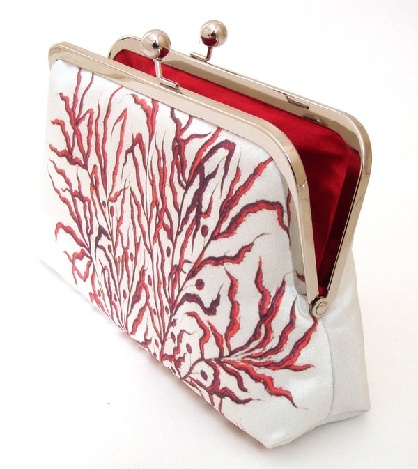 Red Coral clutch bag, printed silk purse - Red Ruby Rose
