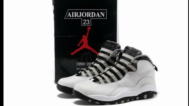 Image of Men Air Jordan 10 Retro Shoes 08 White Black Grey