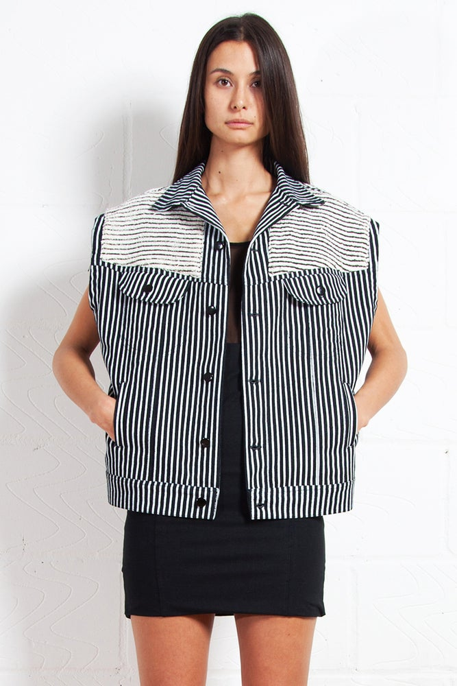 Image of Sleeveless Striped Denim Shirt