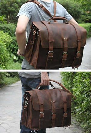 Image of Men's Extra Large Handmade Vintage Leather Travel Bag / Satchel - Backpack / Messenger (n53-4)