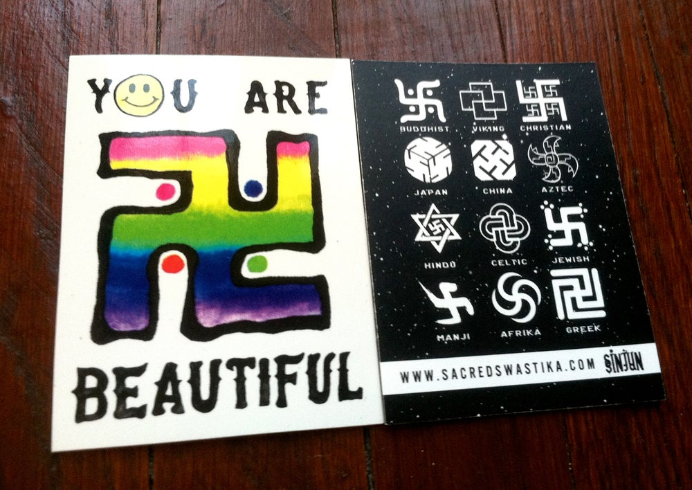 Image of YOU ARE BEAUTIFUL RAINBOW SWASTICKER 卐 - 1