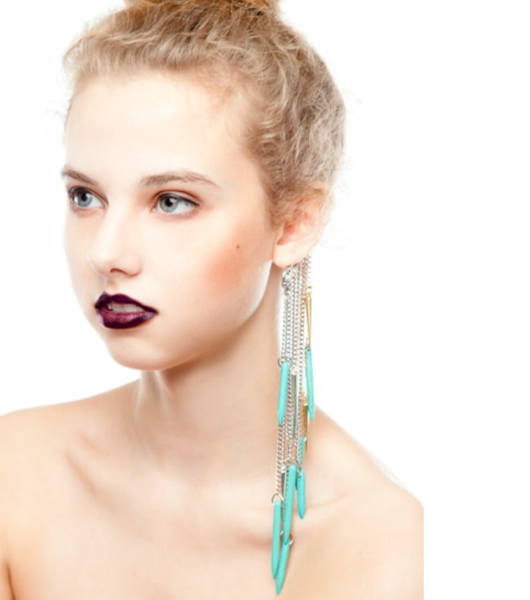 Image of Turquoise & Gold Ear Cuff