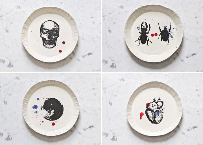 Image of Assiettes en porcelaine lot de 4 - collection éphémère // Bone china special edition lot of 4