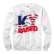 Image of KY Raised Crewneck in White / Red / Blue (Discontinued Style)