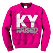Image of KY Raised Crewneck Sweatshirt in Pink / White / Grey