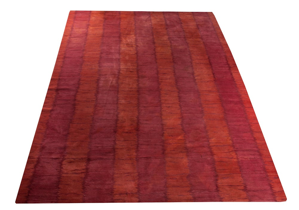 Image of Ikat Stripe Red Rug