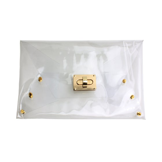 Image of Clear Gold Spiked Clutch
