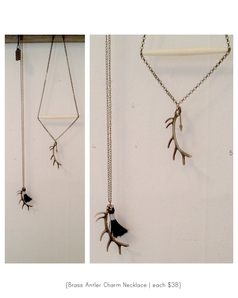 Image of Brass Antler Charm Necklace