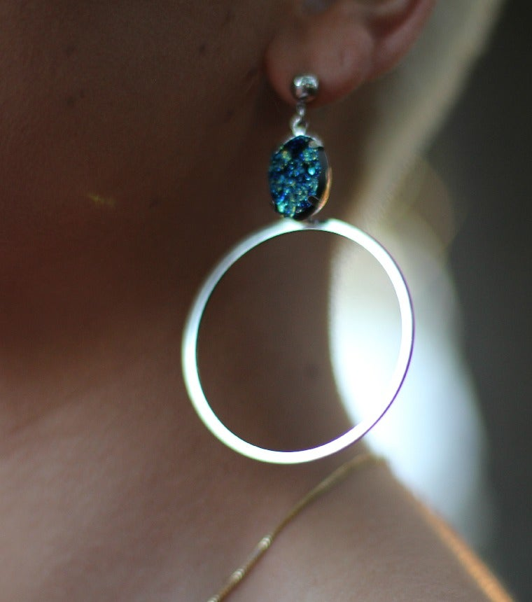 Image of Blue Fairy Dust Hoops