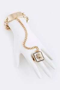 Image of Queen Lioness ring chain bracelet