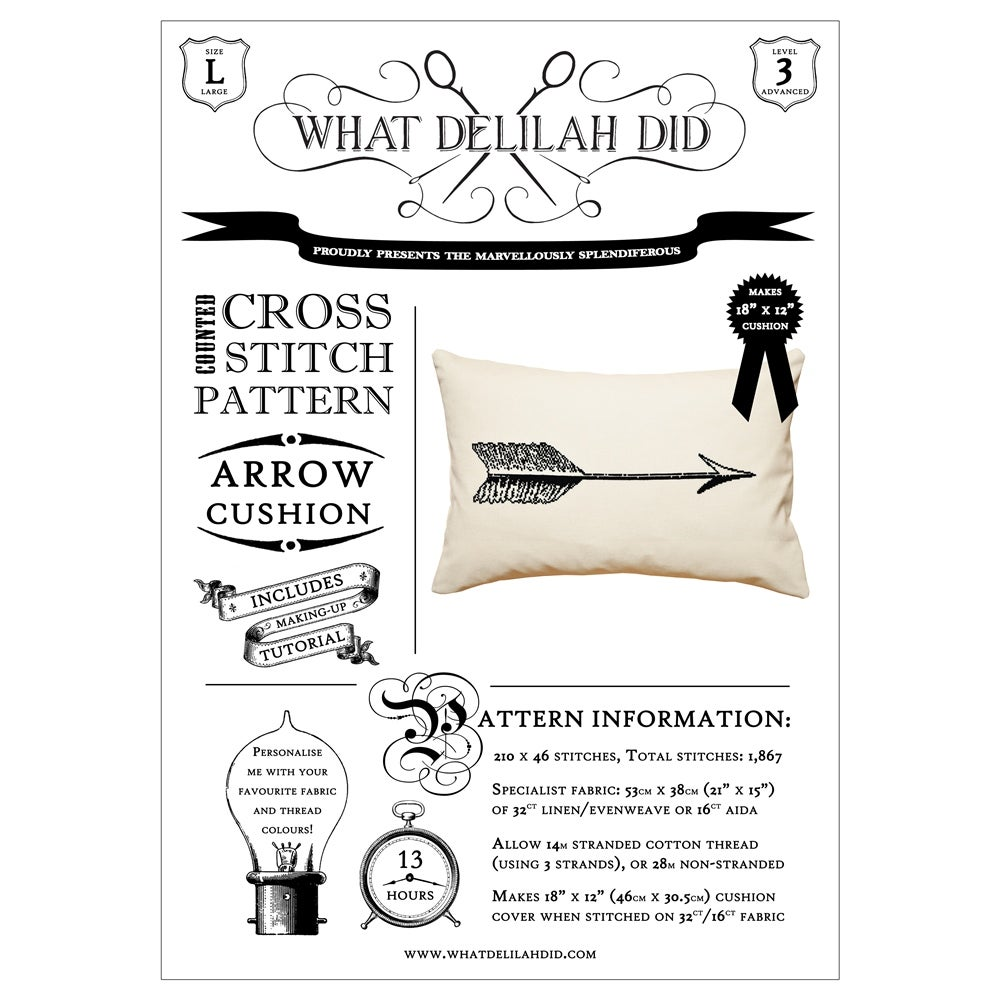 Image of The Arrow Cushion PDF Pattern