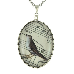 Image of Lovely Bird - Silver Sheet Music Necklace