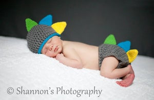 Image of Dinosaur Hat & Diaper Cover Set