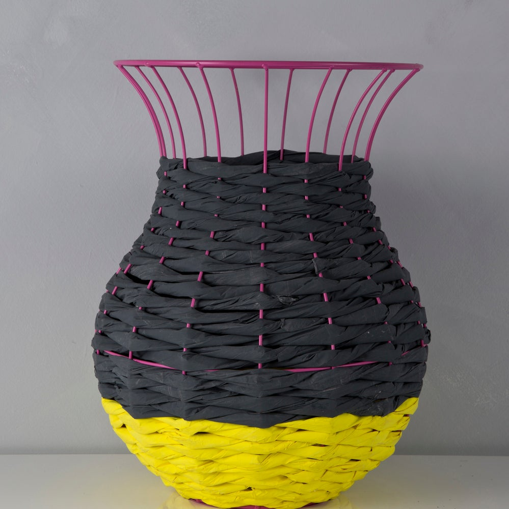 Image of Woven Paper Basket CHARCOAL