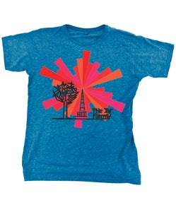 Image of Mens Blue T-Shirt with Communication Tower Logo