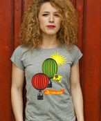 Image of Ladies Grey Slim-Fit T-Shirt with TJF Hot Air Balloon Logo