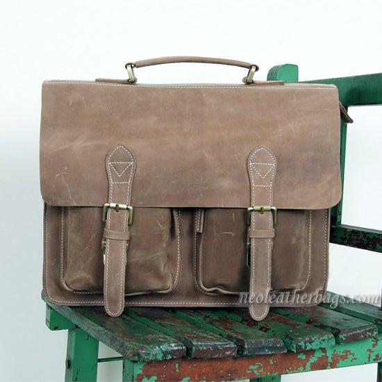 """Image of Vintage Handmade Crazy Horse Leather Briefcase Messenger 14"""" 15"""" Laptop 13"""" 15"""" MacBook Bag (n67-11)"""