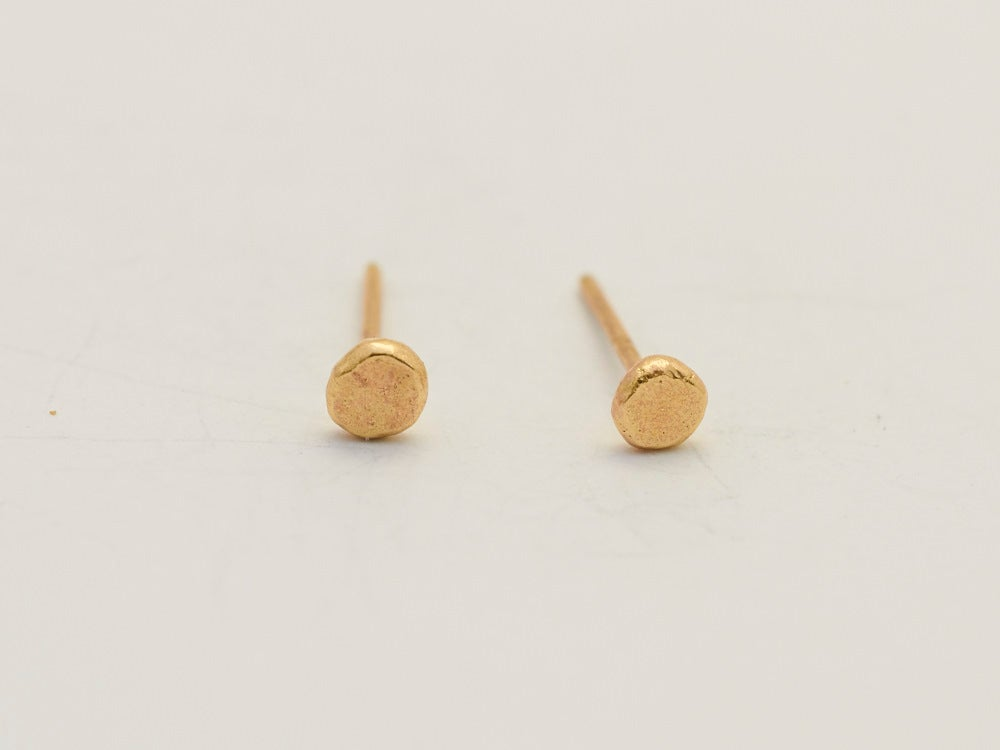 Image of Tiny Hammered Flat Studs - 22ct gold