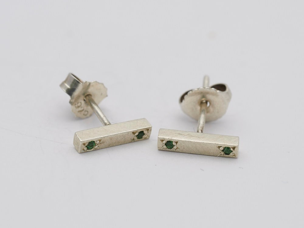 Image of Green Garnet Double Stone Bar Studs