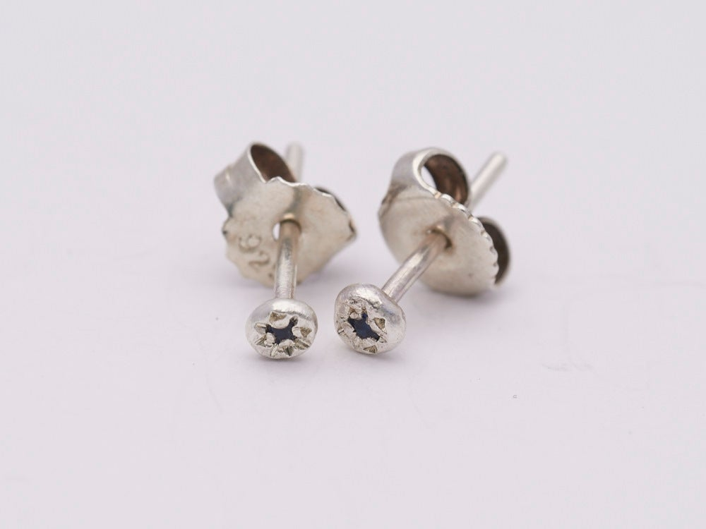 Image of Super Tiny Silver Sapphire Set Studs