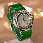 Image of Womens & Mens Handmade Vintage Leather Bangle Studded Bracelet Quartz Watch (WAT0236)