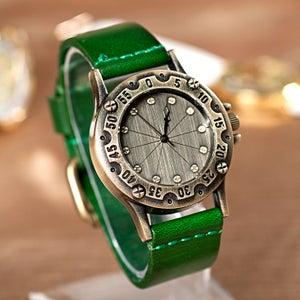 Image of Womens & Mens Handmade Vintage Leather Bangle Studded Bracelet Quartz Watch (WAT0236)