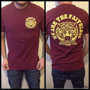 Image of WE ARE THE FAITHLESS - TIGER TEESH - YELLOW ON BURGUNDY