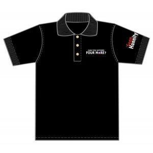 """Image of """"Can You Afford Four More?"""" Polo shirts (4MorePoloWH/Red/Bk)"""