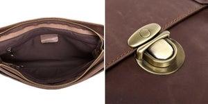 """Image of Vintage Handmade Crazy Horse Leather Briefcase / Messenger / 13"""" Laptop 13"""" MacBook Bag (n3)"""