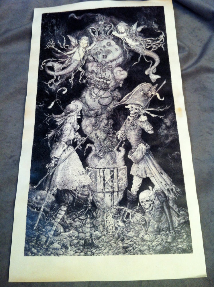 Image of The Treasure Conjurers-tea stained print