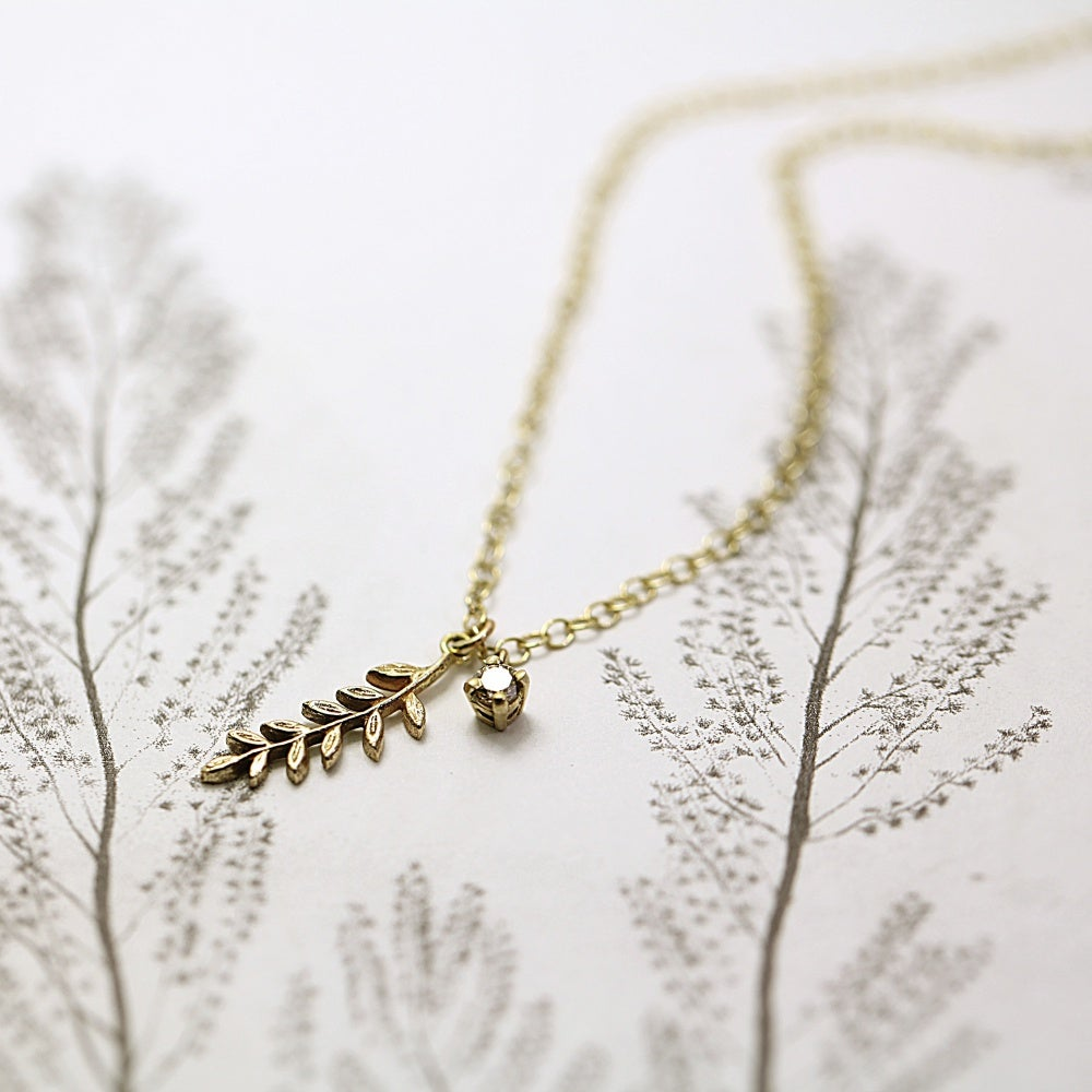 Image of fern leaf & champagne diamond necklace