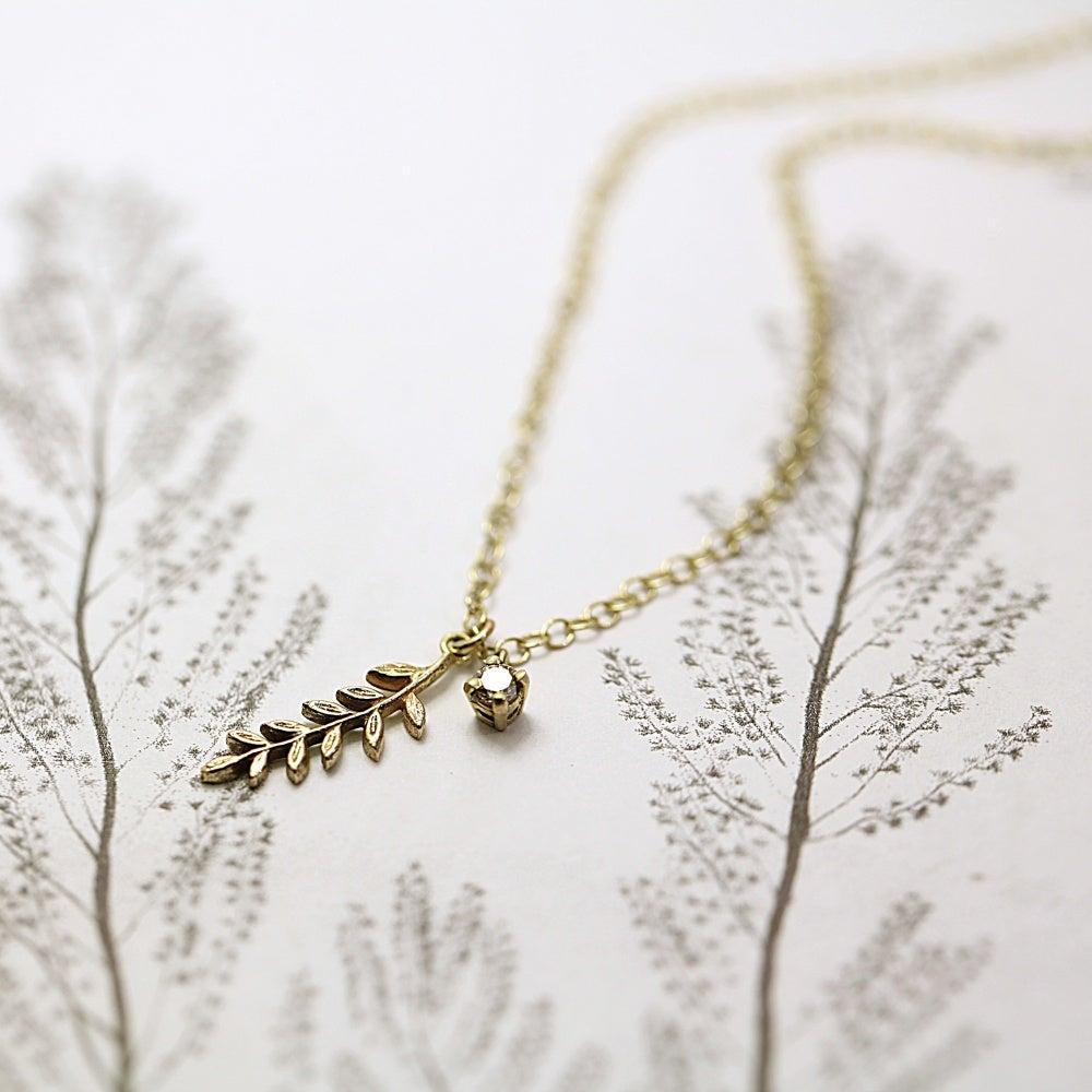 Image of fern leaf & champagne diamond necklace
